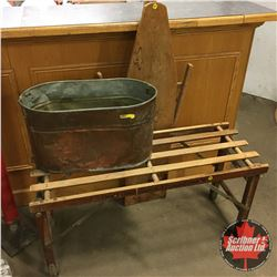 Beatty Bros Wash Stand, Copper Boiler & Wooden Clothes Ironing Board
