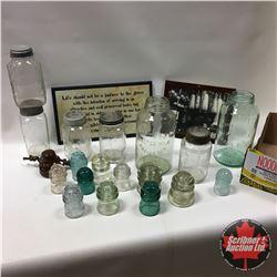 Tray Lot: Variety Jars, Insulators & Humor Plaque & Framed Print