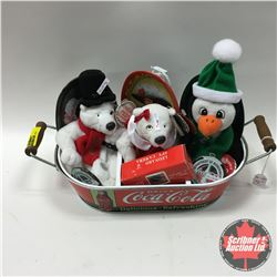 Drink Coca-Cola Carrier w/Contents (Stuffed Toy Bears & Penguin, Spy Camera, Trays, etc)