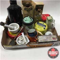 Tray Lot: Apothecary Items (Mortar & Pestle, Tins, Bottles, Egg Incubator Lamp, etc)