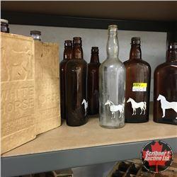 White Horse Bottle Collection (8) Including White Horse Cardboard Bottle Sleeves (2)