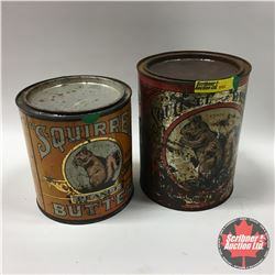 Squirrel Brand Peanut Butter Tins (2) Old !
