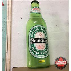 "CHOICE of 2: Plastic Heineken Half Beer Bottle Wall Hanging 25"""