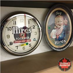 "Hires Rootbeer Group: Clock (13"") & Reproduction Tray (13-1/2"" x 17"")"