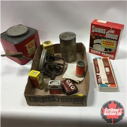 Tray Lot: Cake Mix, Churn Lid, Spice Tins, Cookie Moulds, etc