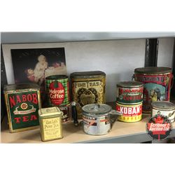 Tray Lot: Variety of Coffee & Tea Tins with Repro Vanhoutens Cocoa Tin Sign & Tramp Art Coffee Pot