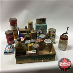 Tray Lot - Kitchen Cupboard Finds: Boxes & Jars of Foodstuff & Wooden Butter Press