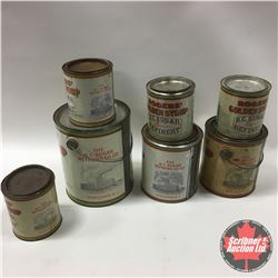Tray Lot: 7 Rogers Syrup Tins (All Have Chimney Smoke)