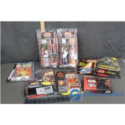 (2) NIB Star Wars Collector Watch & Light Saver Gift Sets & Star Wars Figures