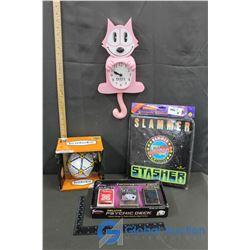 Slammer Stasher, Icosoku, Pink Felix The Cat Clock & Psychic Deck