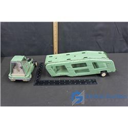 Vintage Green Tonka Car Hauler w/ Unique Cab