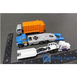 Majorette Garbage Truck; Car Transport Truck & NASA Semi & Trailer