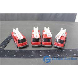 (4) Metal Tonka Ladder Fire Trucks
