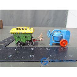 Lesney Cement Mixer; Gypsy Wagon; Metal Caravan