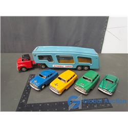 Metal Car Carrier & (4) Friction Drive Cars