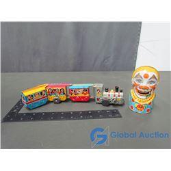 Tin Wind Up Choo Choo Train & Tin Clown Bank