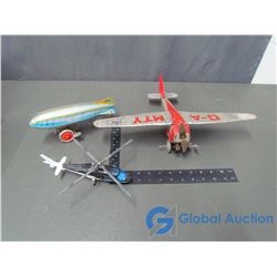 Tin Wind Up Tin Air Plane; Wind Up Tin Air Ship & Toy Helicopter