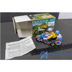 Tin Clockwork Motorcycle with Side Car in Box