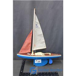 Vintage Wood & Tin Sail Boat
