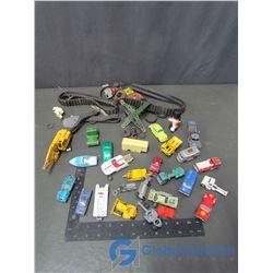 Assorted Tires; Tracks & Small Metal Car Parts