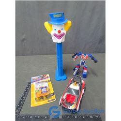 Large Clown Pezz Dispenser & (2) Transformer Toys