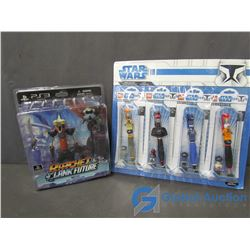 Star Wars Lego Collectible Pens & Ratchet & Clank Figures