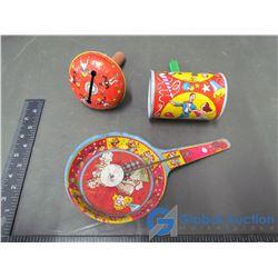 (3) Vintage Tin Music Toys