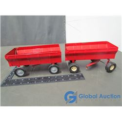 (2) ERTL Brand Red Grain Wagons