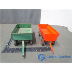 Green ERTL Grain Wagon & Orange Grain Wagon