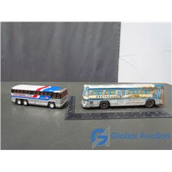 (2) Vintage Greyhound TIn Bus Toys