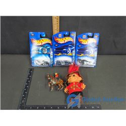 RCMP Troll Doll; Lead RCMP On Horse; (3) Hot Wheels Roll Patrol Cars