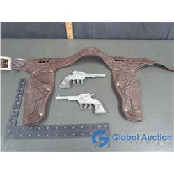 (2) Texas Metal Cap Guns w/ Double Holster