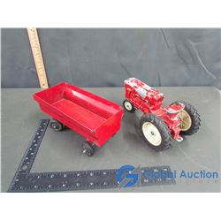 Vintage International Row Crop Tractor & Massey Ferguson Toy Wagon 1:16 Scale