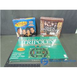 (3) Unopened Board Games - Ducky Dynasty Redneck Wisdom; Seinfeld Trivia Game & Tripoley