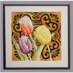 "Mary Frieze, ""Tulipa Baroque,"" small, framed watercolor"