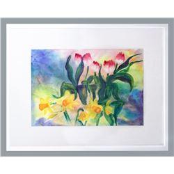 "Jacqueline Mercenier, ""Opening Reception,"" Watercolor on paper"