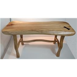 "Felton and Ferguson, ""Bench,"" handcarved bench, 32"" l x 16"" h x 10"" d"