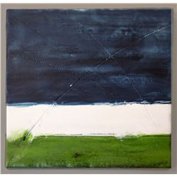"Susan Gellner, ""Blue Montana Skies,"" Encaustic painting"