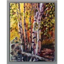 """Tobie Liedes, """"Autumn Shine,"""" watercolor on canvas"""