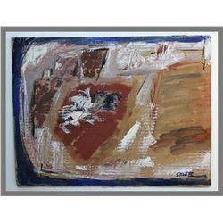 "Bill Stockton, ""Untitled,"" cattle marker on cardboard"