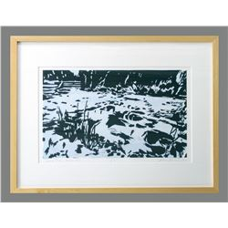 "Gesine Janzen, ""Madison River, Madison Dam,"" woodblock print"