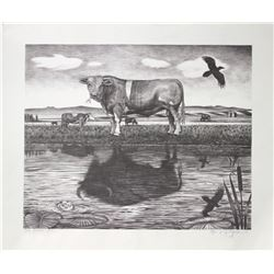"Monte Dolack, ""The Sacred Cow,"" print, 20"" x 23"""