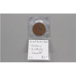 1827 Great Britain King George 1/2 penny