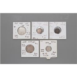 5 rare low mint & key date Canadian Silver coins WWI era