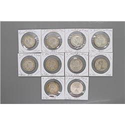 10 - WWII era Silver Australian 1 Florin coins