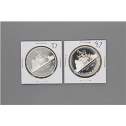2 1987 Canada Silver Dollars Prooflike