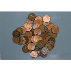 52 British large pennies 1900s - 1960s