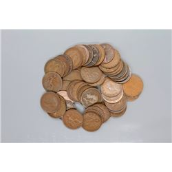50 British large pennies 1900s - 1960s
