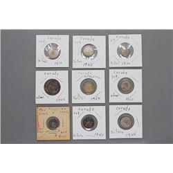 9 Canada silver coins WWII & WWI era