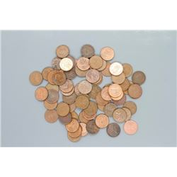 69 Canadian pennies of various dates